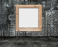 Wooden frame blank whiteboard with sun clouds buildings doodles Royalty Free Stock Photos
