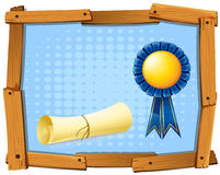 Wooden frame with blue ribbon and roll of paper Stock Image