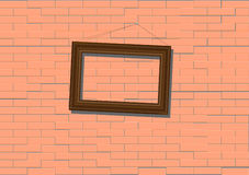 Wooden  frame on brick wall Stock Images