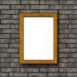 Wooden frame on brick wall. Wooden frame on gray brick wall Royalty Free Stock Photography