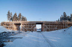 Wooden frame of a bridge. Under construction Royalty Free Stock Photo