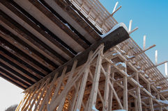 Wooden frame of a bridge. Under construction Royalty Free Stock Images