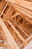 Wooden frame of a bridge. Under construction Stock Photo