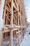 Wooden frame of a bridge. Under construction Stock Photos