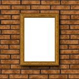 Wooden frame on brick wall. Wooden frame on brown brick wall Stock Illustration