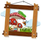 Wooden frame with bugs on mushroom house stock illustration