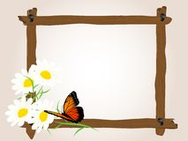 Wooden frame with butterfly Royalty Free Stock Photo