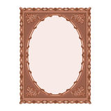 Wooden  frame carved oak leaf vector illustration Royalty Free Stock Photos