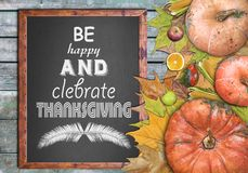 Wooden frame and celebrate thanksgiving Stock Image