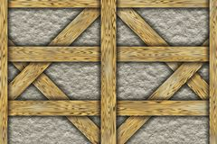 Wooden frame chalet construction elements Stock Photo