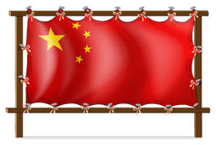 A wooden frame with the Chinese flag Stock Photos