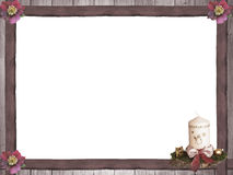 Wooden frame with christmas roses and advent spray Royalty Free Stock Image