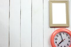 Wooden frame and clock at Eight o 'clock stock photography
