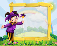Wooden frame with clown in the field. Illustration Royalty Free Stock Image