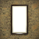 Wooden frame on color wallpaper Stock Photo