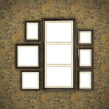 Wooden frame on color wallpaper Royalty Free Stock Photos