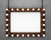 Wooden frame on concrete background illuminated by light bulbs vector illustration