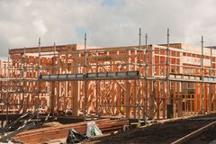 Wooden frame in the construction of homes, building in New Zealand Royalty Free Stock Photos