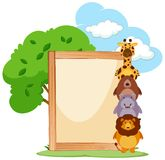 Wooden frame with cute animals on the side Stock Image