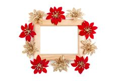 Wooden frame decorated with flowers Royalty Free Stock Image