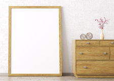 Wooden frame and dresser interior background 3d rendering Royalty Free Stock Photo