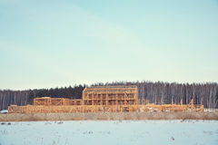 Wooden frame ecological house being built Royalty Free Stock Photo