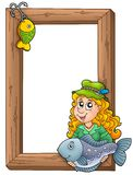Wooden frame with fisherwoman. Color illustration Royalty Free Stock Images