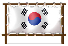 A wooden frame with the flag of Korea Stock Images