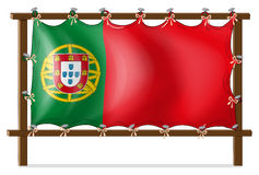 A wooden frame with the flag of Portugal Stock Photo