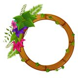 Wooden frame with flower. Illustration of wooden frame with flower Stock Images