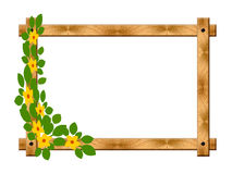 Wooden frame with flowers Royalty Free Stock Photography