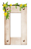 Wooden frame with the flowers and branches Stock Photo