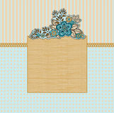 Wooden frame with flowers Royalty Free Stock Images