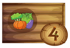 A wooden frame with four vegetables. Illustration of a wooden frame with four vegetables on a white background Stock Photography