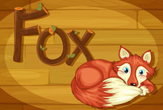 A wooden frame with a fox Royalty Free Stock Photo