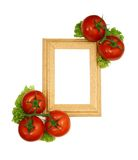 Wooden frame and frech tomatoes isolated on white Stock Photography