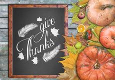 Wooden frame and fruits give thanks. Close stock images