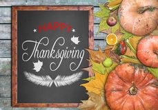 Wooden frame and fruits for happy thanksgiving day Royalty Free Stock Photos
