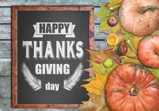Wooden frame and fruits for happy thanksgiving day Stock Photos