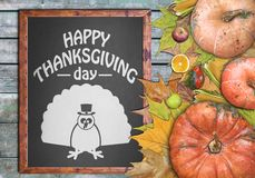 Wooden frame and fruits for happy thanksgiving day Royalty Free Stock Photography