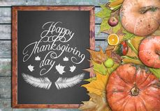 Wooden frame and fruits for happy thanksgiving day Stock Image