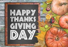 Wooden frame and fruits for happy thanksgiving day Stock Photography