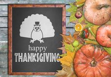 Wooden frame and fruits for thanksgiving day Royalty Free Stock Image