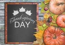Wooden frame and fruits for thanksgiving day Stock Photography