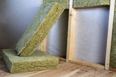 Wooden frame for future walls with drywall plates insulated with stock images