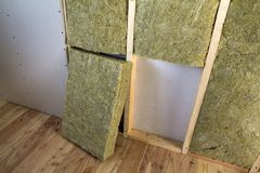 Wooden frame for future walls with drywall plates insulated with rock wool and fiberglass insulation staff for cold barrier. Comfortable warm home, economy royalty free stock photography