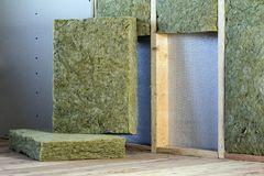 Wooden frame for future walls with drywall plates insulated with rock wool and fiberglass insulation staff for cold barrier. Comfortable warm home, economy stock photography