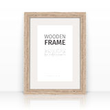 Wooden Frame on a Glossy Surface Stock Photos