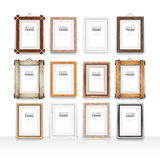 Wooden Rectangle Frames Set Stock Photo