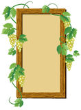 Wooden frame with grape Royalty Free Stock Image
